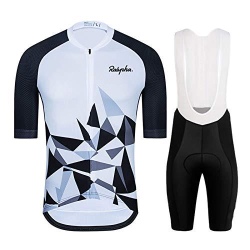 WPW Maillot de Ciclismo para Hombre, Ropa de Manga Corta para Bicicleta MTB de Equipo Profesional con Pantalones Cortos con Almohadilla de Gel 19D (Color : B, Talla : Pequeño)