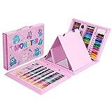 AOTEMAN Lápiz de pintura 176 Pintura Caja de regalo Crayons Aprendizaje Papelería Suministros de Arte Pincel para Niños Pluma de Acuarela Set con Caballete (Rosa)