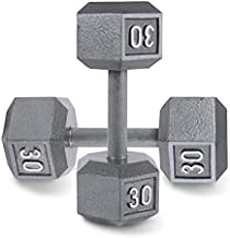 CAP Barbell Cast Iron Solid Hexagon Gray Dumbbells, Strength Training Free Weights Set of 2 for Women and Men, Hand Weights Sold by Pairs, from 1 to 120 LBS, Multi-Select Weight Size Options Available