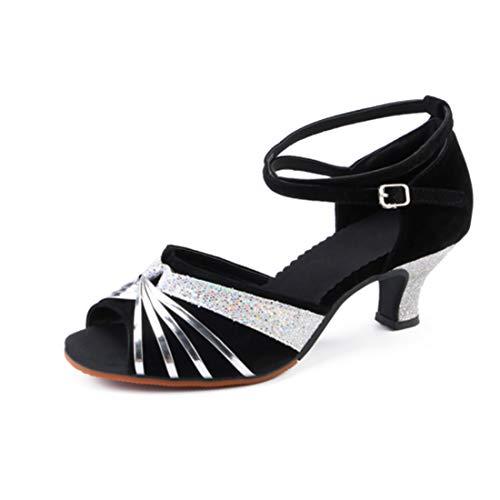Yefree De Las Mujeres Sandalias Salsa Latina Zapatos de Bailarina de práctica Salón de Baile Zapatos de Baile con Lentejuelas