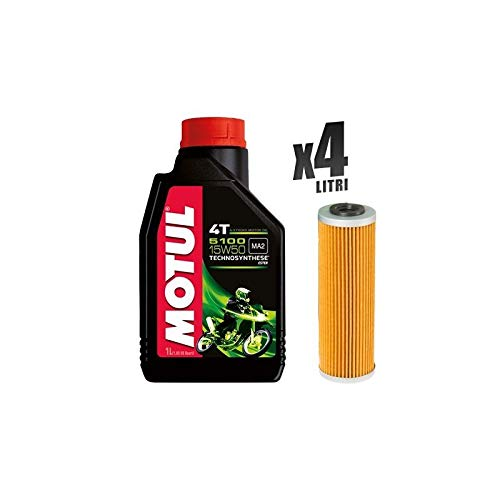 Motorrackerset 4 liter motorolie Motul 5100 15W50 + filter 159