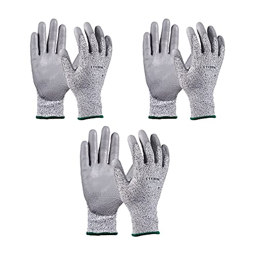 3 Pair Level 5 Cut Resistant Gloves Safety Cut Resistant Work Gloves Kitchen Cut Gloves for Oyster Shucking Fish Fillet Processing,Mandolin Slicing Meat Cutting Wood Carving Level 5 Protection Machine Washable 3D Comfort Stretch Fit Power Grip Smart Touch Thin & Lightweight