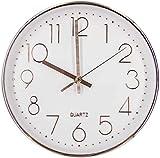 Reloj de Pared Moderno,Grandes Decorativos Silencioso Interior Reloj de Cuarzo de Cuarzo Redondo No-Ticking para Sala de Estar,Panel Blanco Marco Dorado, Funciona con Pilas,30 cm diámetro