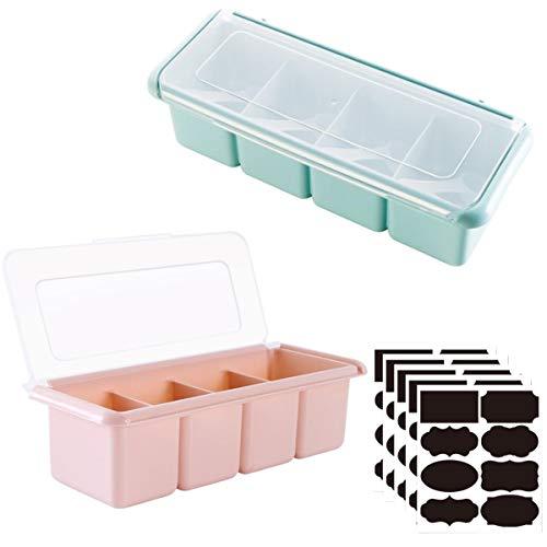 liuer Botes para Especias, 2PCS Especias de Cocina Tarro,Frascos de Especias de Plastico Ideal para Sal, Pimienta,Hierbas o Especias