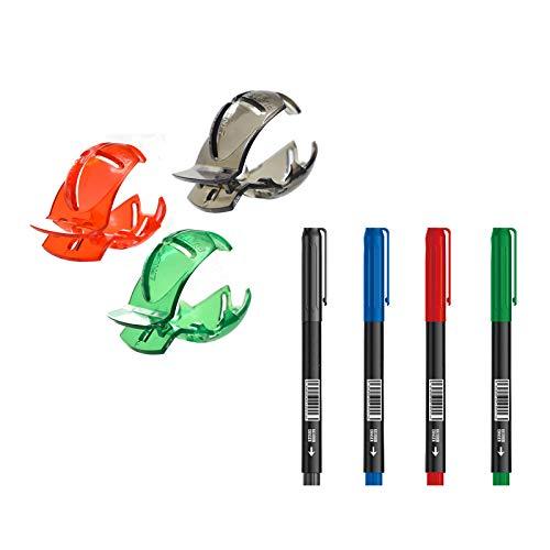 WIJIN Kit de alineación de pelota de golf con 4 rotuladores, bola de golf transparente, herramienta de dibujo con clip de línea verde, accesorios de golf Scribe suministros (3 unidades)