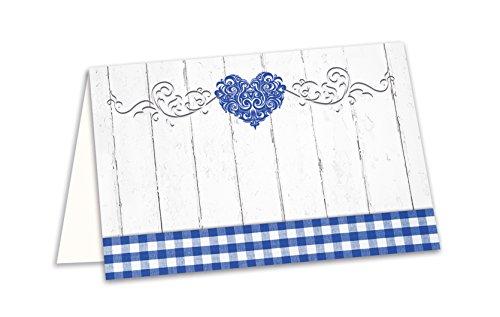 25 Stück kleine blau weiß karierte bayerische HERZ Tischkarten Namens-Schilder Sitzkarten...