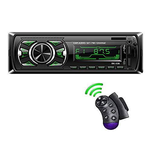 LSLYA ricevitore stereo per auto singolo DIN, sistema audio 4x60W radio FM AM, chiamata a mani libere Bluetooth, telecomando per volante, scheda USB TF AUX-IN, con retroilluminazione LCD a 7 colori