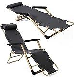 FXBFAG Tumbona, tumbona de jardín con gravedad cero, silla de salón plegable unilateral, silla plegable para la oficina, silla de playa plegable, gris + almohadilla de algodón (178 x 62 x 30 cm)