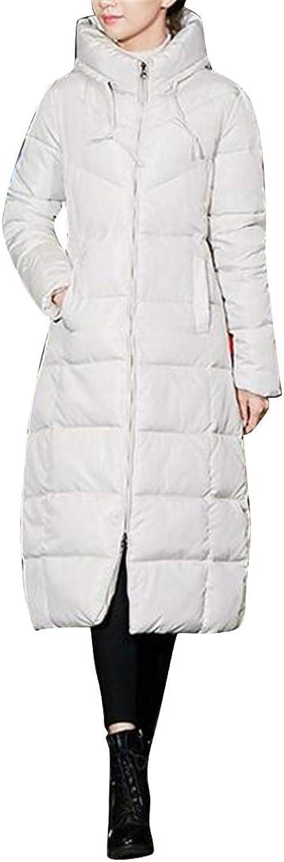 Jofemuho Women Hoodie Long Winter Warm Regular Fit Thicker Down Quilted Jacket Coat Parka