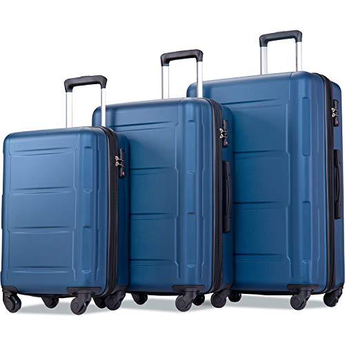 """Merax Luggage Sets 3 Pcs Spinner Suitcase Hardshell Lightweight 20""""24""""28"""" (3 Pcs Set-Blue)"""