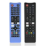 2 Pcs Silicone Cover for Samsung Remote, Alquar Protective Shockproof Case Compatible with Samsung Smart TV Remote BN59-01301A Bn59-01315A Bn59-01199F -with Lanyard (Black + Glowing Blue)