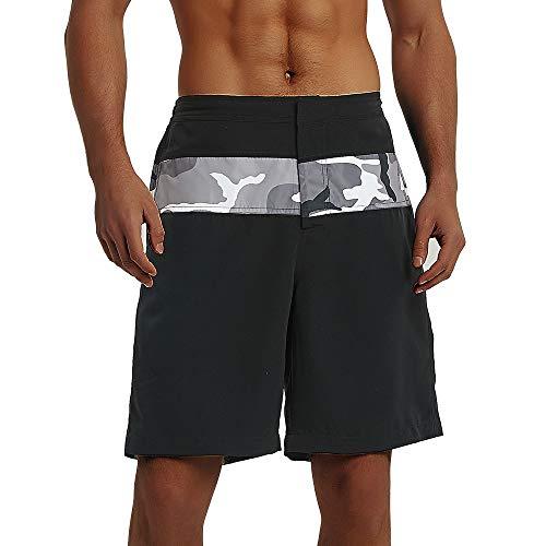 BALCONY & FALCON - Bañador para hombre, de secado rápido, transpirable, impermeable, para natación, surf, correr, gimnasio, entrenamiento, pantalones casuales Camuflaje negro. 46
