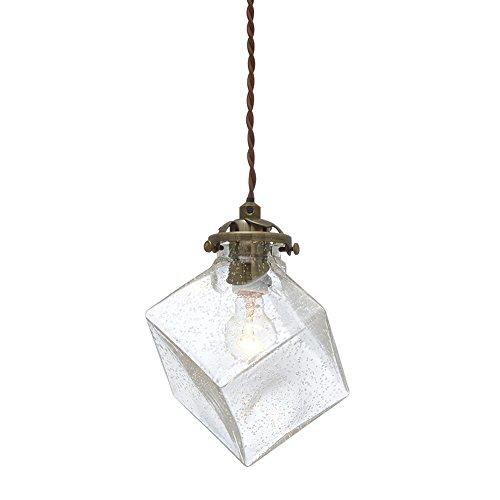 ペンダントライト クアドラト 電球別売り 真鍮 + 気泡ガラス LT-2656BU LT-2656BU