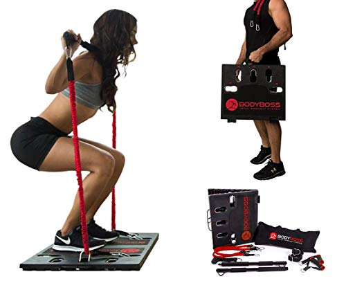 BodyBoss Home Gym 2.0 - Full Portable Gym Home Workout Package + 1 Set of Resistance Bands - Collapsible Resistance Bar, Handles - Full Body Workouts for Home, Travel or Outside - Red (Renewed)