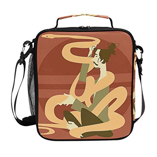 Anaconda und Meditation Man Lunchtasche mit Reißverschluss, isoliert, für Kinder, Erwachsene, Schule, Büro