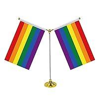 卓上旗 卓上フラグ 虹旗 ステンレス鋼 Y-定形旗フレーム レインボーフラッグ 同性愛 プライド 平和 自由 平等 イベント 飾り 平和の旗 LGBT旗 Rainbow Flag
