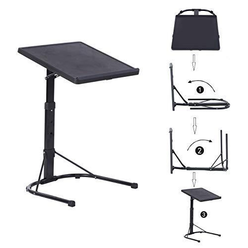 MEUBLE COSY Portable Table pour Ordinateur Pliable Hauteur Réglable Plateau Canapé PC Petit déjeuner Lit Tablette Lit Noir