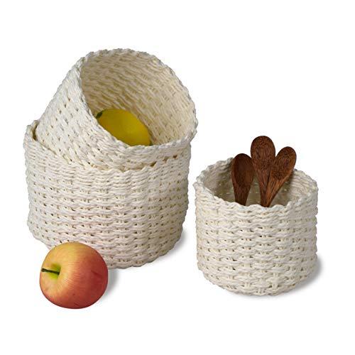 MadeTerra Juego de 3 cestas de mimbre para almacenamiento de estanterías y armarios, organizador de contenedores redondos de alambre para baño, cocina y decoración del hogar