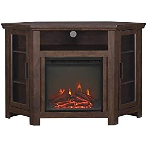 Lucas 48 inch Corner Fireplace TV Stand in Traditional Brown