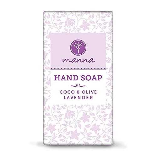 Manna Seife | Speziell für das Händewaschen entwickelt | COCO Handwaschseife mit Olivenöl und Lavendel | 90g | 100% natürliche Inhaltsstoffe, Vegan, Palmölfrei, Tierversuchsfreiheit