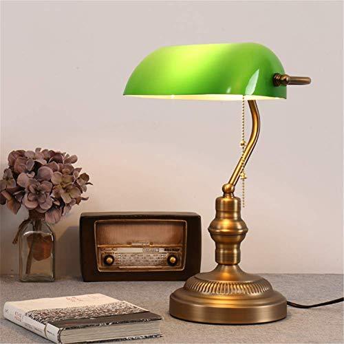 Lámpara de escritorio clásica tradicional Lámpara de noche Rotativo Verde Grueso Pantalla de latón Base de metal de latón antiguo Antigua lámpara de mesa de banqueros E27 Con interruptor
