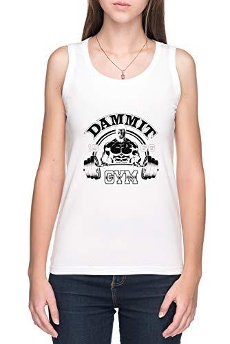 Dammit Gym - Gym De Tirantes Camiseta Mujer Blanco