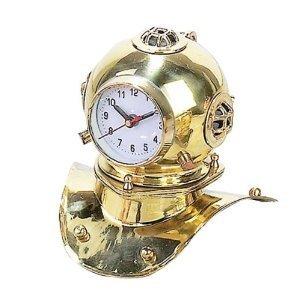bombayjewel Nautische Uhr Taucherhelm Golden Messing 21,6 cm B 19,1 cm H Pirat Seemannskollektion