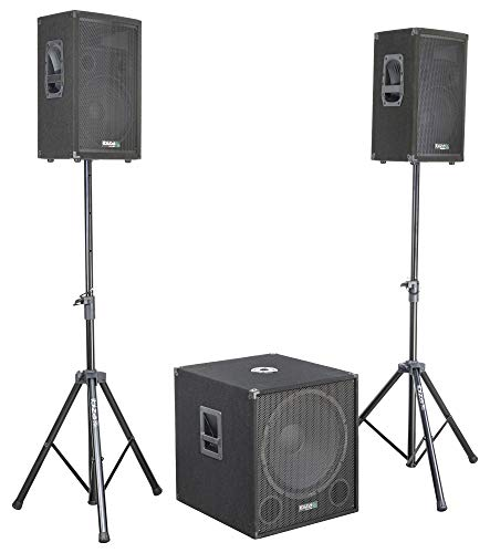 "AKTIVE 2.1 BESCHALLUNGSANLAGE 2400W Plug & Play IBIZA CUBE1812 aktives Lautsprecher Set mit 18"" Subwoofer Stativen Bi-Amp 2-Band EQ Disco Party DJ Club Event"