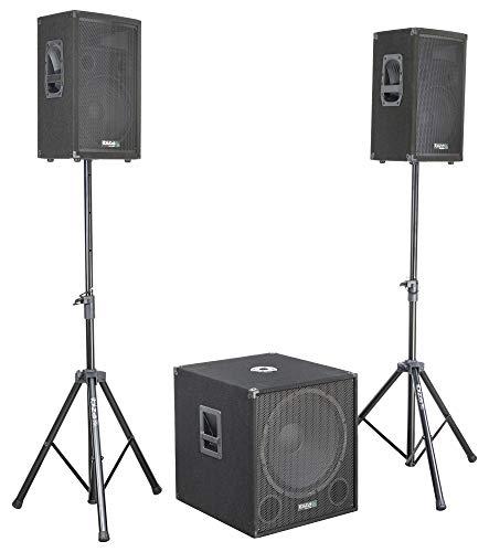 "IBIZA CUBE1512 2.1 Aktiv Lautsprecher Set mit 15\"" Subwoofer Stativen 2000 Watt RMS Disco Party DJ Club Event"