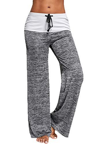 FITTOO Femme Pantalon Ample de Sport Lâche Haute Taille Élastique Jambe Large Pilates Fitness Gym Pantalon de Yoga Leggings, Gris, S
