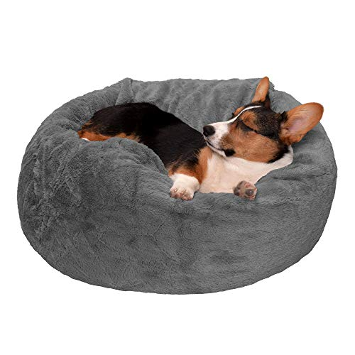 Furhaven Pet Dog Bed - Round Plush Faux Fur Refillable Ball Nest Cushion Pet Bed with Removable Cover for Dogs and Cats, Gray Mist, Medium