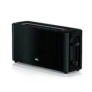 Braun-HT-3110-BK-Toaster-Langschlitz-Extrabreite-Toastkammer-Herausnehmbare-Kruemelschublade-Aufwaerm-und-Auftaufunktion-7-Roestgrade-Separater-Broetchenaufsatz-Schwarz