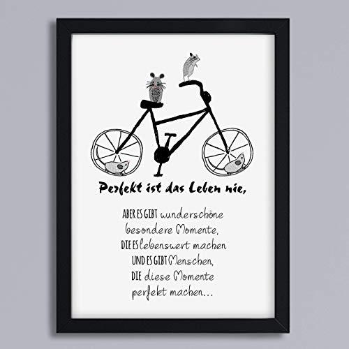 Kunstdruck Freundschaft Fahrrad Geschenk für beste Freundin und beste Freunde Geschenkidee optional mit Rahmen