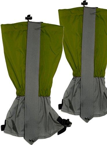 Outdoor Saxx® - Gamaschen, Unigröße wasserdicht strapazierfähig, für Wandern, Ski, Stiefel-Schutz Gestrüpp Schmutz Wasser-abweisend, 2er Set, grün