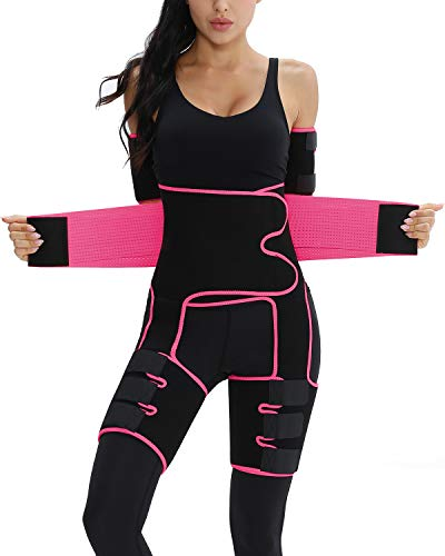 Plus Size Elastic Exercising Waist Trainer Slimming Sweat Girdle Workout Belt Body Shaper Band S-7XL(Pink,2XL/3XL)