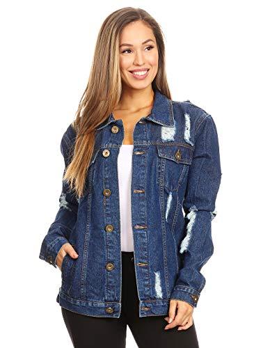 ANNA-KACI Damen Denim Jacke mit Brusttaschen und Chic Cut-Outs und Patches Design Knopf Jeansjacket