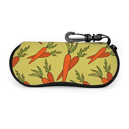 AOOEDM Funda de anteojos portátil con diseño de zanahoria para alimentos vegetales, resistente a la abrasión, funda protectora, bolsa de gafas de sol suave con mosquetón para viajes de negocios, ofic