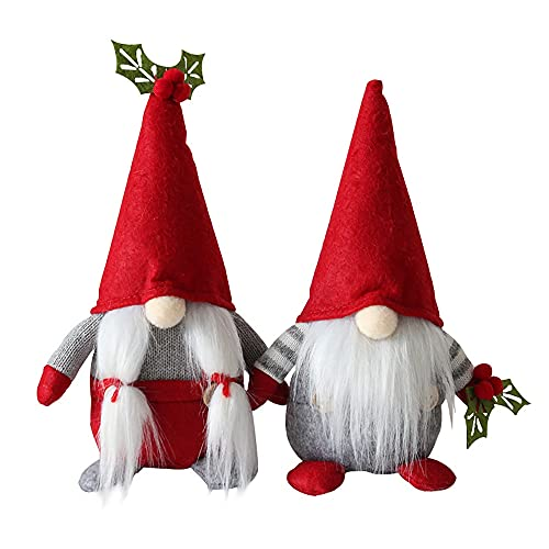 Moligh doll 2 Pcs Cherry Gnome Handmade Scandinavian Tomte Nisse Elf Dwarf Kitchen Farmhouse Home Decoration, Couples Gifts