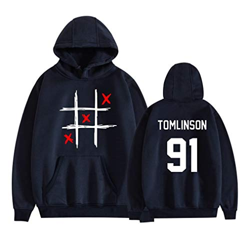 Zhao Li Pullover Hoodie Hoody Louis Tomlinson 91 One Direction Kombinatio Männer Und Frauen Hoodies Hooded Sweatshirts Trainingsanzug Mit Praktischer Tasche (Color : Navy 1, Größe : L)