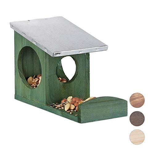 Relaxdays Eichhörnchen Futterhaus, Kobel aus Holz, wetterfestes Metall Dach, zum Aufhängen, Garten Futterstation, grün