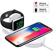 Apple Watch Charger, iPhone Wireless Charger, Ultra-Thin 2 in 1 Qi Charging Pad Stand Compatible with Apple Watch Series 1/2/3/4 iPhone X iPhone 8/8Plus for Samsung Galaxy Note