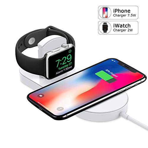 Watch Charger, Phone Wireless Charger Replacement, Ultra-Thin 2 in 1 Qi Charging Pad Stand Compatible Watch Series 1/2/3/4 Phone X Phone 8/8Plus Samsung Galaxy Note(with AC Adapter)