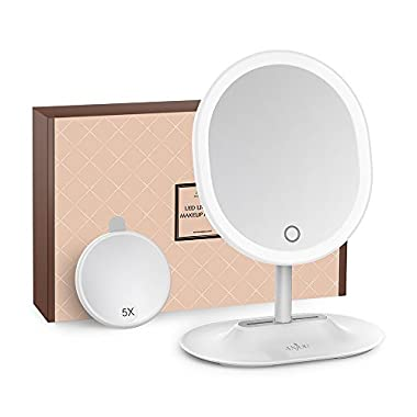 Makeup Mirror Rechargeable LED Lighted with 1X / 5 X Magnification, Anjou USB Rechargeable Vanity Mirror Touchscreen Dimmable LED Light for Countertop Cosmetic Makeup