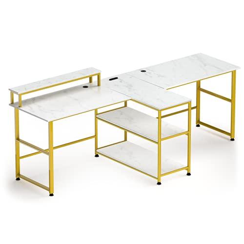 Mesa de ordenador para dos personas, mesa de estudio con soporte para monitor y estantes, escritorio doble, carga máxima de 325 libras, para oficina en casa, mesa de ordenador, tamaño: 99 x 60 x 76 cm
