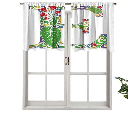 Hiiiman Cortinas cortas, con bolsillo para barra, de alta calidad, inspiradas en la naturaleza, con diseño abstracto en capital, juego de 2, 137 x 60 cm para baño y cocina