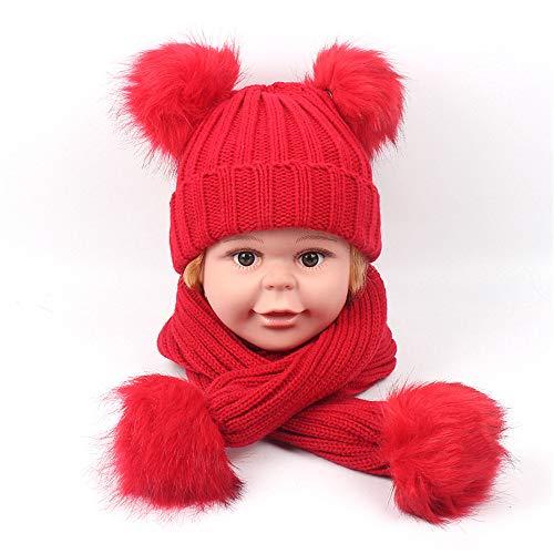 KIYOUMI Unisex Peuter Kindje Winter Warm Gebreide Sjaal Pluche Ball Hoed Sjaal Set voor Kinderen Geschenken