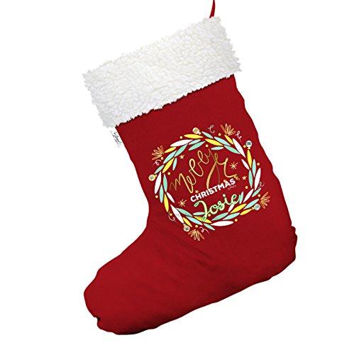 Calze di Natale colorato corona personalizzato grande rosso Babbo Natale con bordo bianco