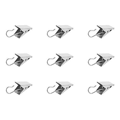 MroMax Vorhang-Clips für Haushalt, Dusche, Gardinen, Eisen, gefedert, Sägezahn-Clips für Fenster, Badezimmer, Vorhang-Clip, rostfrei, silberfarben 24PCS silberton