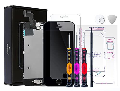Trop Saint® Display Schwarz für iPhone SE (2016) Bildschirm Reparaturset Kompatibel iPhone mit Magnetische Schraubenkarte, Werkzeug, Anleitung und Panzerglassfolie