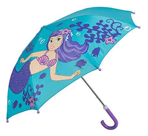 Idena 53090 - Kinderregenschirm für Jungen und Mädchen, ca. 70 cm Durchmesser, Meerjungfrauen Motiv, türkis